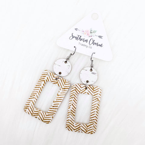 "3"" White & Sand Chevron Judy Corkies"