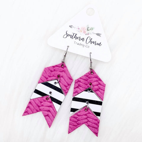 "Hot Pink Braided/Black Striped/Hot Pink Braided Mini Arrows Dangles (2.5"")"