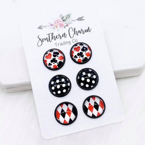 12mm Playing Cards/Black Polka Dots/Red & Black Diamonds in Black Settings