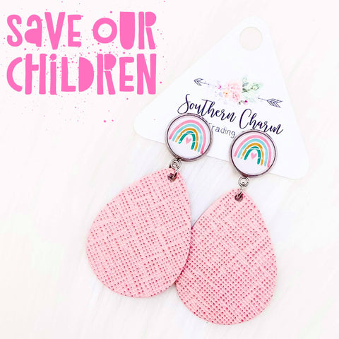 "2"" #SaveOurChildren & Pink Saffiano Dangles (leather)"