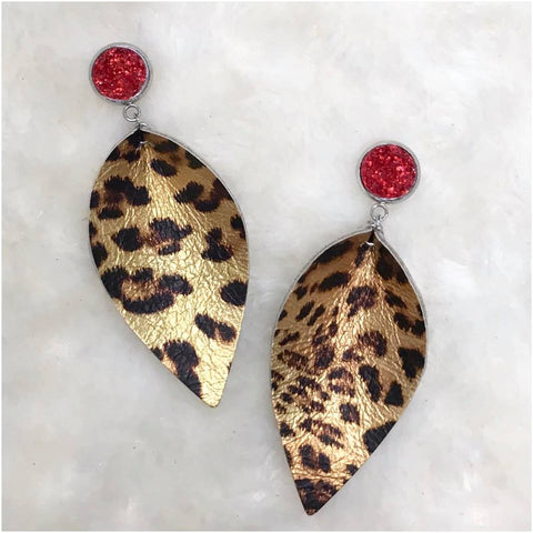 3'' Red Sparkles & Metallic Leopard Petals (Stainless Steel & Leather)