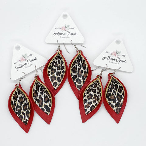 "2.5"" Chocolate Leopard & Deep Red Layered Petals"