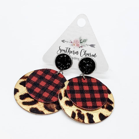 "2.5"" Black & Red Buffalo Plaid/Metallic Leopard Layered Piggybacks"