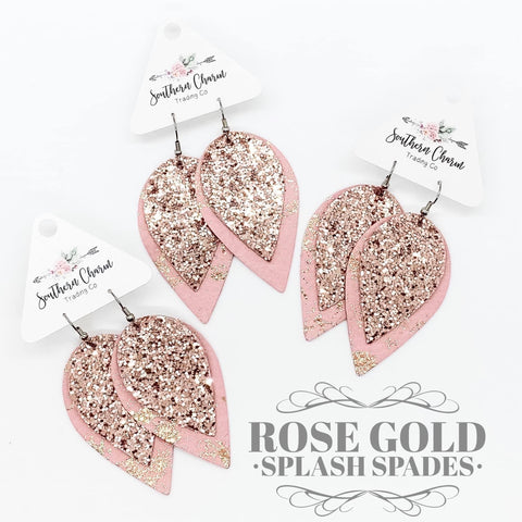 "2.5"" Rose Gold Glitter & Rose Gold Splash Layered Spades"
