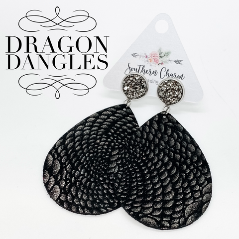 "3"" Gunmetal & Black Dragon Teardrop Dangles"