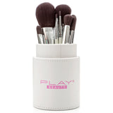 White 8 Piece Makeup Brush Set With Designer Case - Play Lashes
