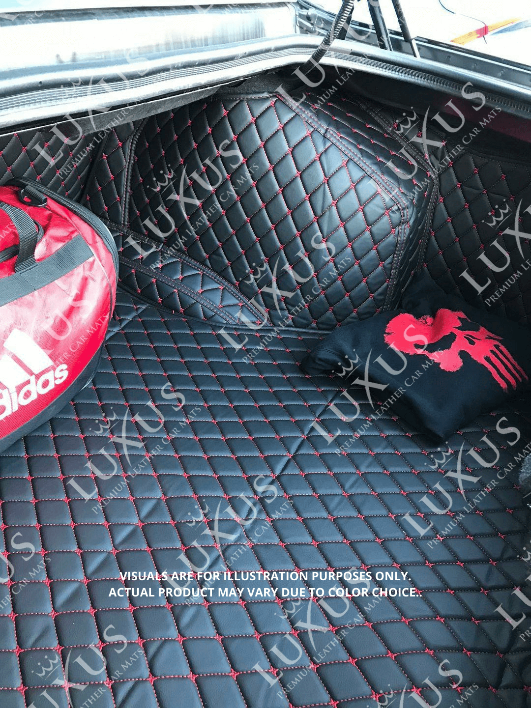 Black & Red Stitching 3D Luxury Leather Boot/Trunk Mat