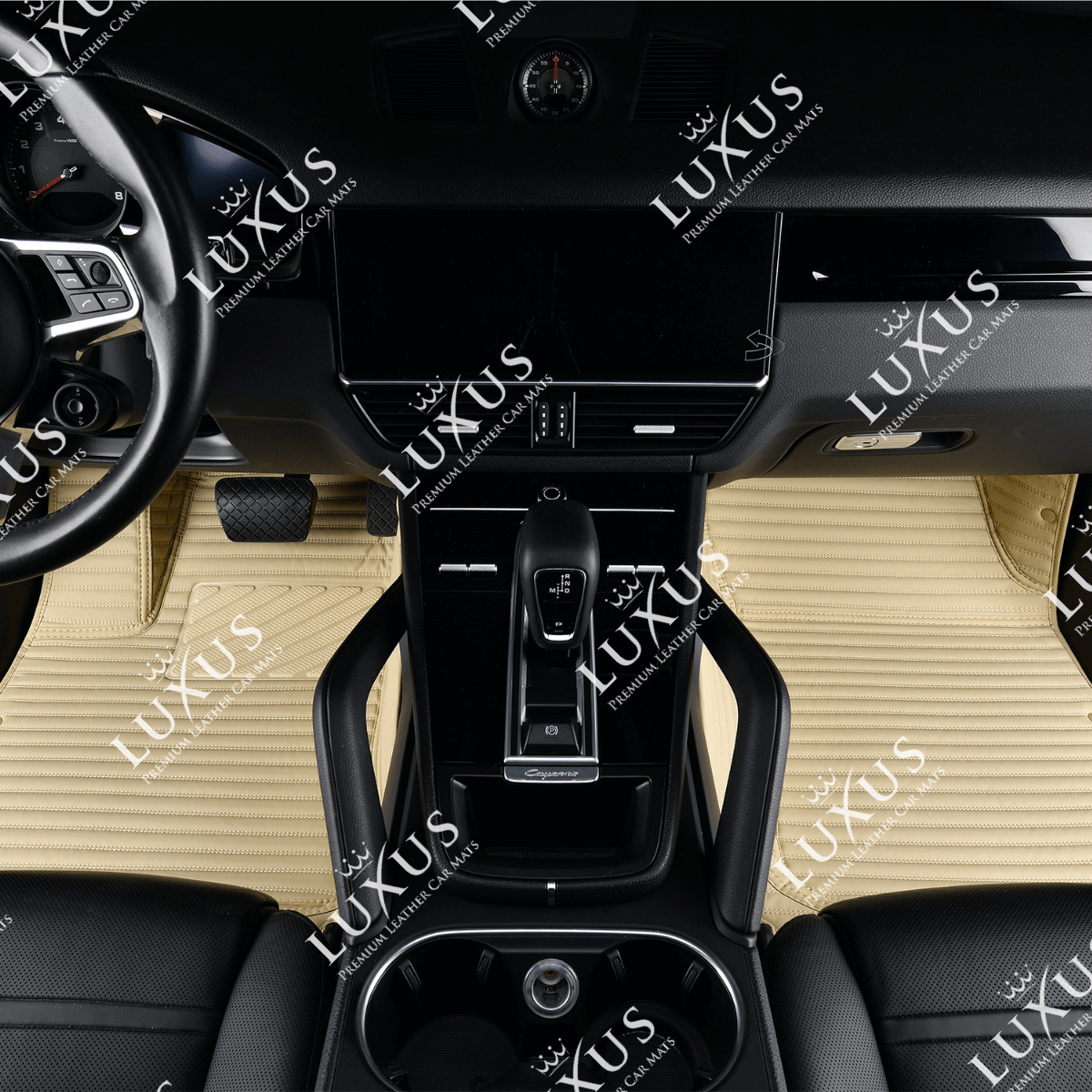Cream Beige Stripe Luxury Car Mats Set