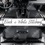 Black & White Stitching Luxury Car Mats Set