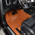 Caramel Brown Stripe Luxury Car Mats Set