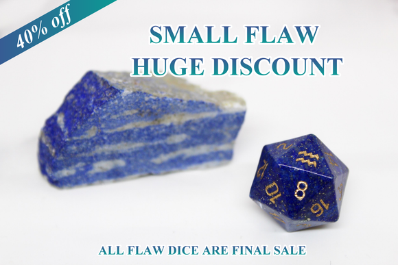 FLAWED Aquarius Lapis Lazuli Single D20 40% Off Retail Price!