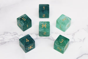 FLAWED Pisces Green Fluorite D6 Set