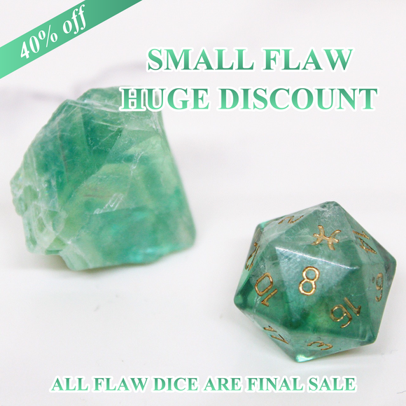 FLAWED Pisces Green Fluorite Single D20 40% Off Retail Price!