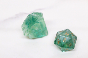 Pisces Green Fluorite Single D20