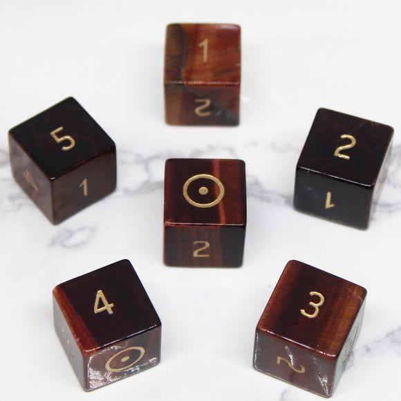 FLAWED Sun Red Tiger Eye D6 Set