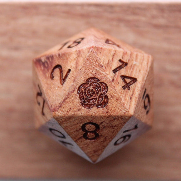 Rose Rosewood Wood Single D20