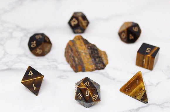 Leo Yellow Tiger Eye Polyhedral Set