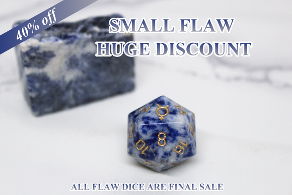 FLAWED Mercury Sodalite Single D20 40% Off Retail Price!
