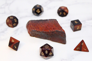 Sun Red Tiger Eye Polyhedral Set