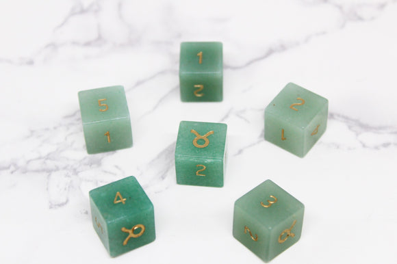 FLAWED Taurus Green Aventurine D6 Set