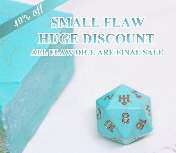 FLAWED Uranus Turquoise Howlite Single D20 40% Off Retail Price!