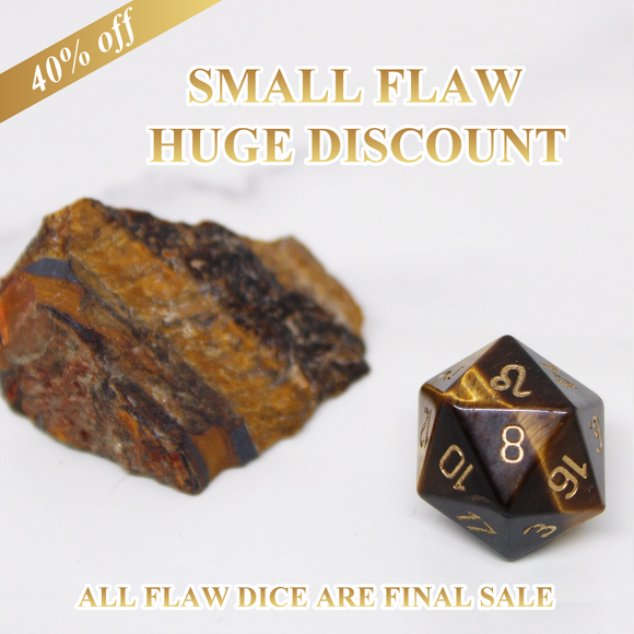 FLAWED  Leo Yellow Tiger Eye Single D20 40% Off Retail Price!
