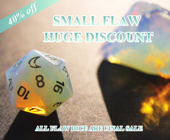 FLAWED Moon Opalite Single D20 40% Off Retail Price!