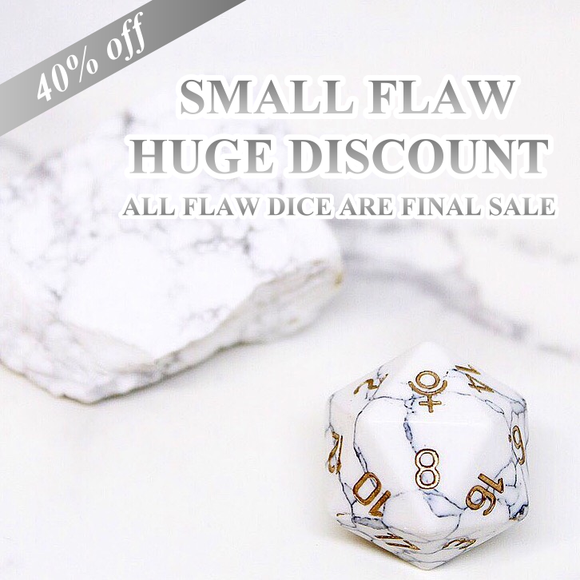 FLAWED Pluto Howlite Single D20 40% Off Retail Price