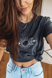 Mindful Muse Sun Moon and Stars Shirt India Ink Grey Instagram