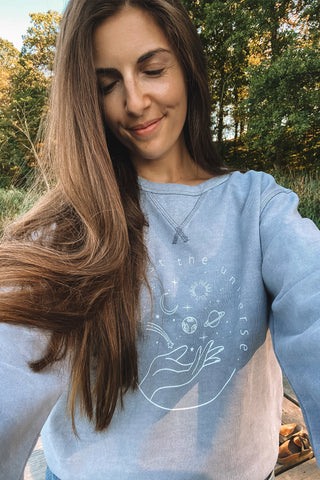 Mindful Muse Trust the Universe Sweatshirt Dyed Lava Grey