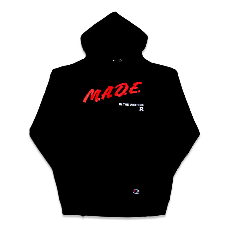 M.A.D.E. Champion® Hoodie in Black with Red and White lettering