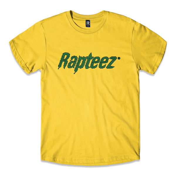 Yellow Tee with Rapteez 420 Logo printed in Green on Front Chest.