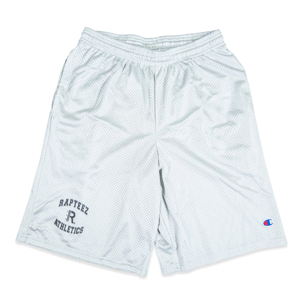 Front of Rapteez® Athletics Champion® Mesh Shorts in Silver