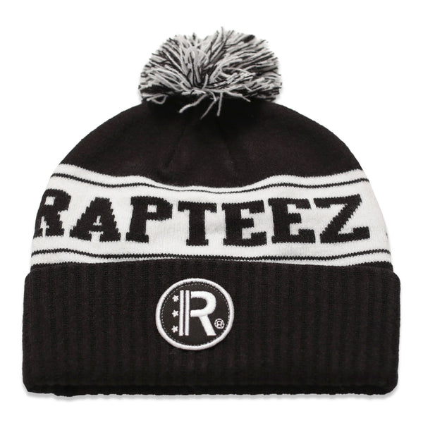 Rapteez® Cuffed Pom Knit Beanie Hat in Black with embroidered patch on front