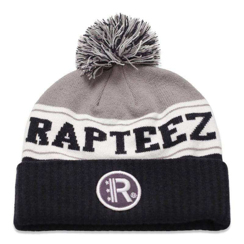 Rapteez® Cuffed Pom Knit Beanie Hat in Grey and Navy with embroidered patch on front
