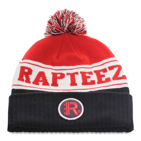 Rapteez® Cuffed Pom Knit Beanie Hat in Navy, White and Red with embroidered patch on front