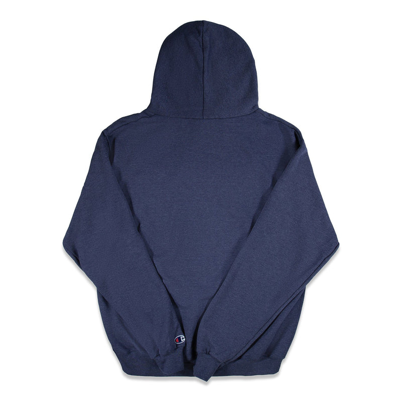 Back of Navy Heather Champion Hoodie