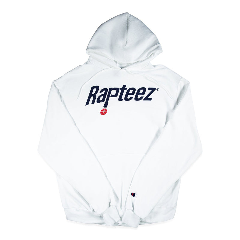 Front of White Champion Hoodie with Rapteez® Ballin Logo on front chest