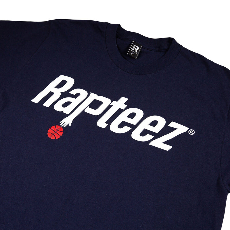 Closeup of Rapteez® Ballin Logo on Front Chest of Navy Tee