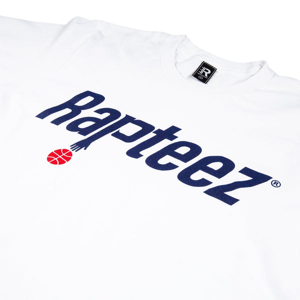 Closeup of Rapteez® Ballin Logo on Front Chest of White Tee