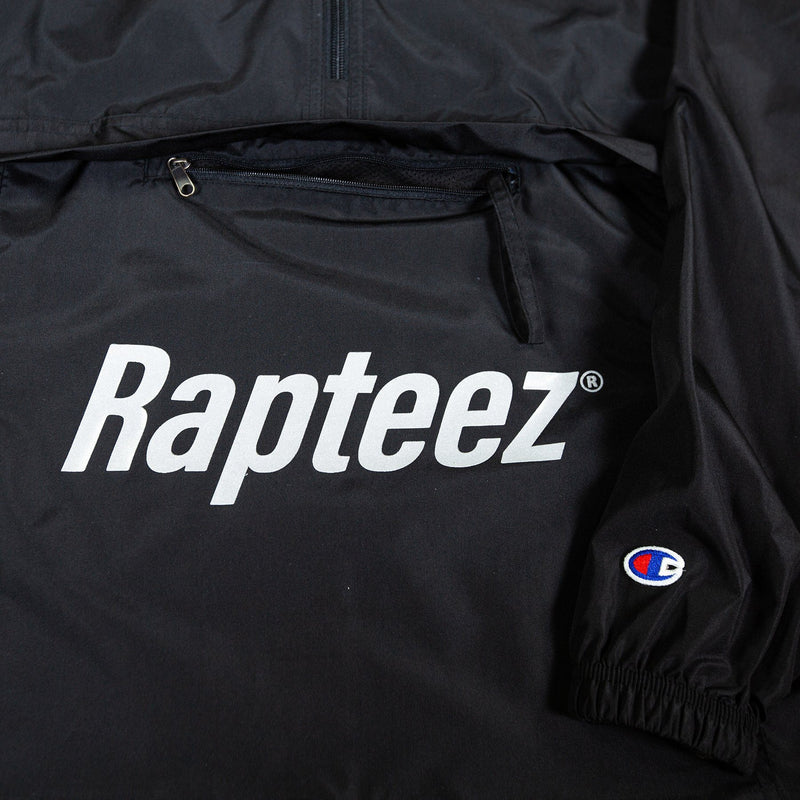 Rapteez logo printed on front pouch of black Anorak jacket