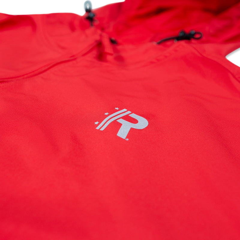 Closeup of R Logo printed on left chest