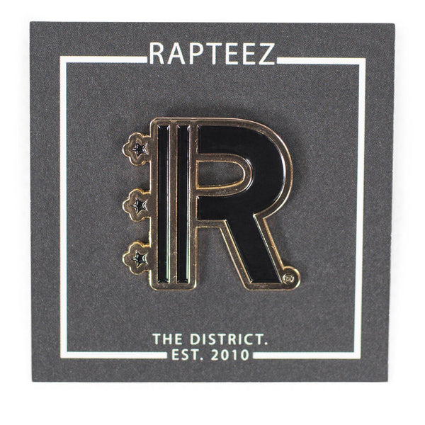 Front of Rapteez® Logo Lapel Pin in Gold on backer card