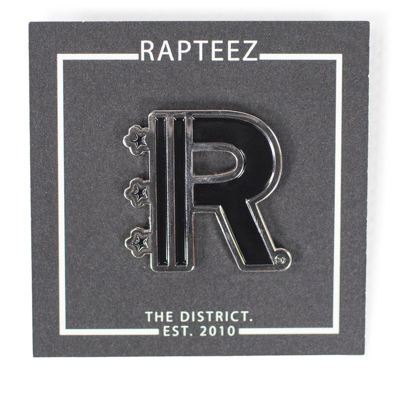 Front of Rapteez® Logo Lapel Pin in Silver on backer card