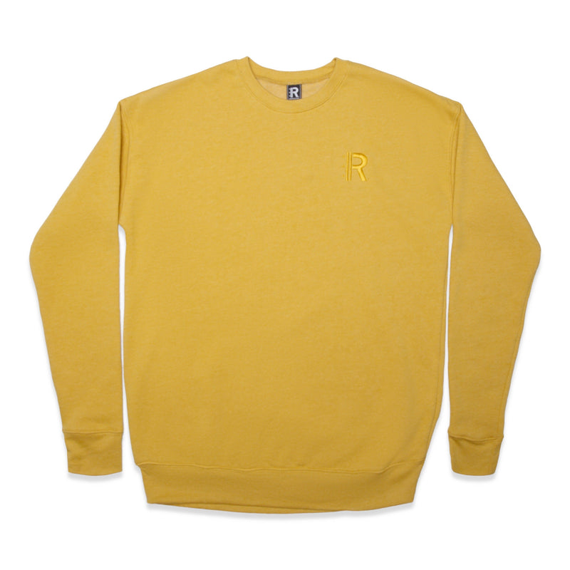 Front of Rapteez® OG Logo Crewneck in Mustard