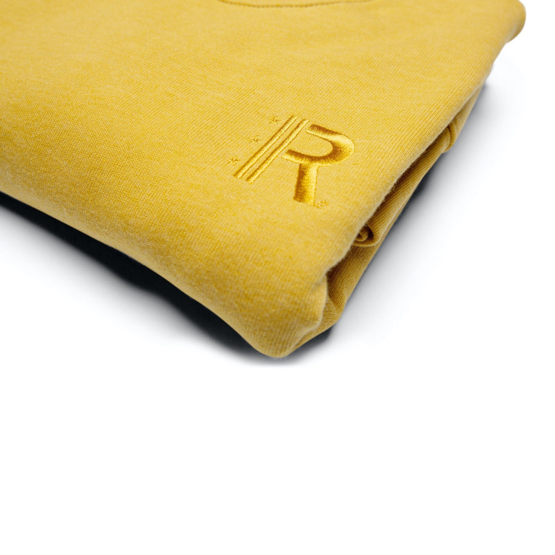Closeup of Rapteez® OG Logo Crewneck in Mustard