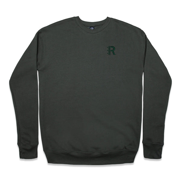 Front of Rapteez® OG Logo Crewneck in Olive