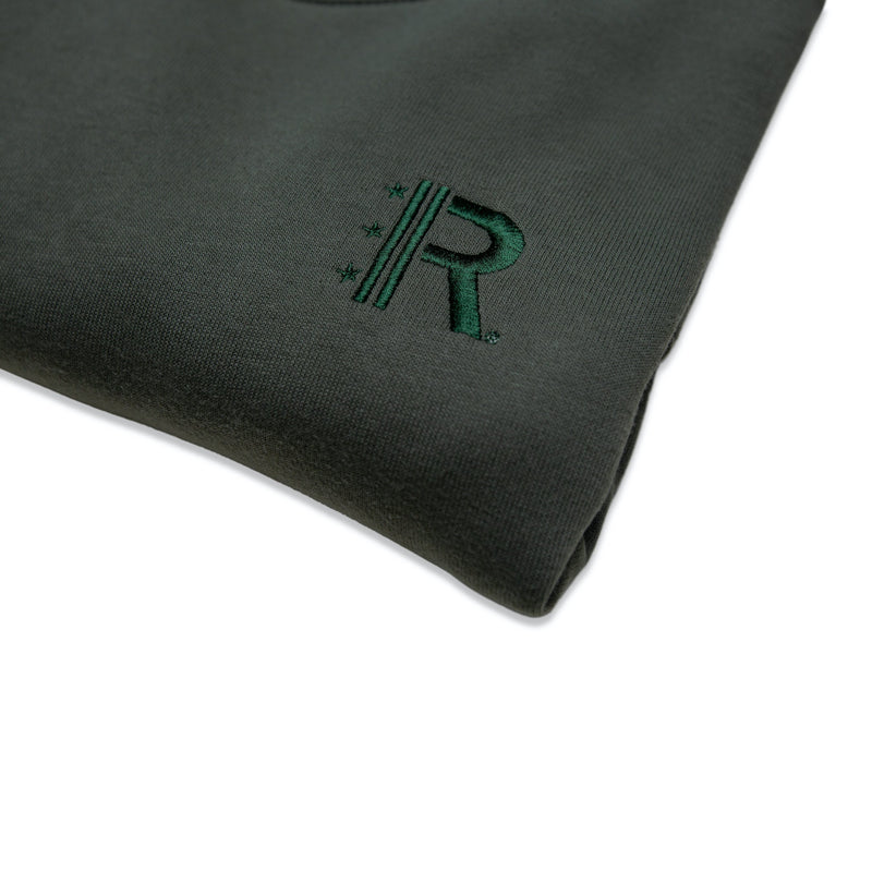 Closeup of Rapteez® OG Logo Crewneck in Olive