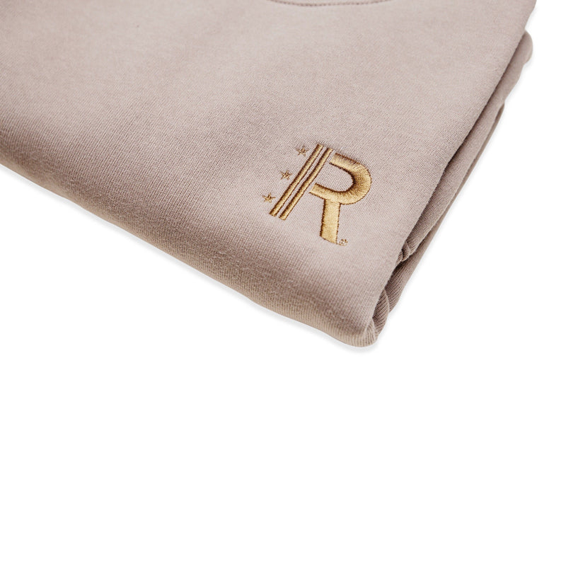 Closeup of Rapteez® OG Logo Crewneck in Wheat