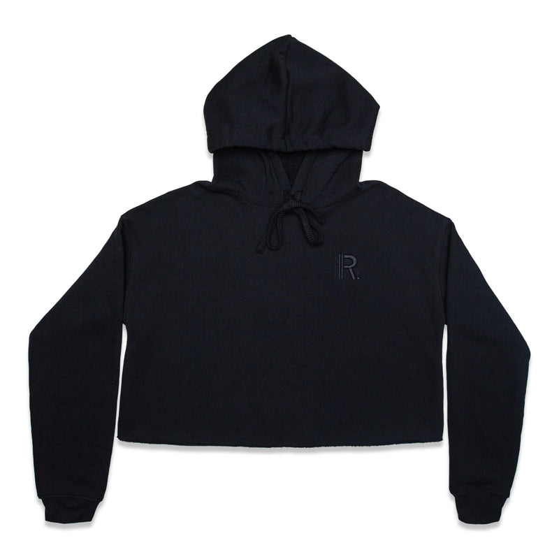 Front of Rapteez® OG Logo Cropped Hoodie in Black